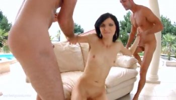 Hot Blonde European Girl Gangbang