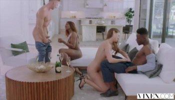Busty redhead Vanessa polishes twat under shower